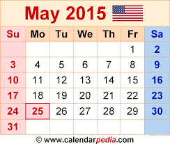 May 2015 Calendars For Word Excel Pdf