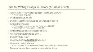 how to write the long essay question ppt video online 4 tips for writing essays in history ap class or not always think of your reader be clear specific and explain avoid vague language