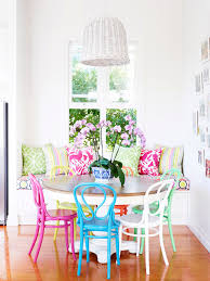 i love the table colored chairs maybe not the same colors mix matched brightly colored chairs in the dining nook