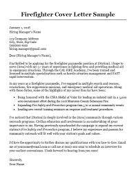 Resume Cover Letter Example Firefighter Cover Letter Sample Writing Tips Resume Companion