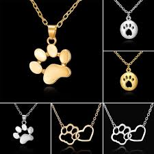 details about women fashion cute pets dogs footprints cat paw pendant chain necklace jewelry