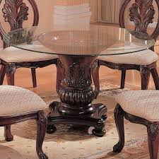 coaster tabitha traditional round dining table with glass top in within decorations 5