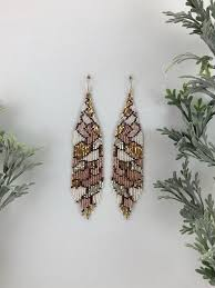 Rose, gold and <b>silver</b> romantic beaded earrings, abstract <b>seed bead</b> ...