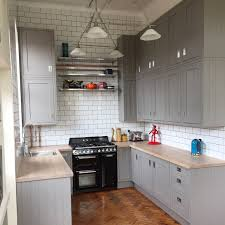 My completed kitchen. B&Q carisbrook taupe (grey/gray) framed units, worktop