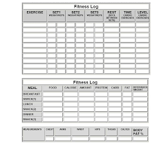 Fitness Log Sheets And More Meal Log Sheets Workout