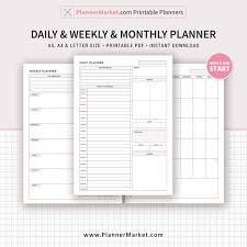 Monthly And Weekly Planners Daily Weekly Monthly Planner 2019 Printable Planner Filofax A5 Inserts A5 A4 Letter Size Planner Pages Refill Planner Inserts