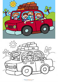 Small Picture Match Up Coloring Pages Road Trip KidsPressMagazinecom