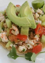 shrimp ceviche on a tostada or ceviche de camaron