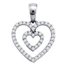 details about 10k white gold round pave set diamond double heart outline pendant 1 6 cttw