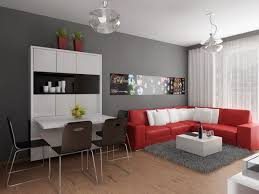 Red And Gray Living Room Living Room Aesthetic Gray Room With Red Leather Sofa And White