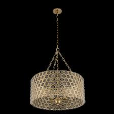 allegri by kalco vita champagne gold six light drum pendant with firenze clear crystal