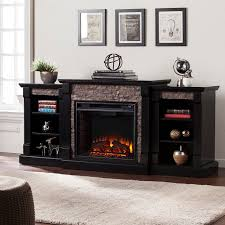 71 75 gallatin faux stone electric fireplace w bookcases black