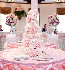 Pretty Pale Pink Cascading Flowers Wedding Cake Beautiful Cake