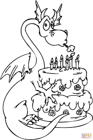 Small Picture Dragon with Happy Birthday Cake coloring page Free Printable