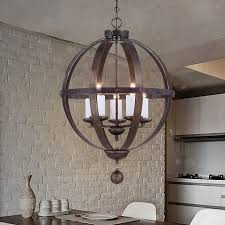 vintage rustic globe shaped metal cage 5 white candle light chandelier in dark bronze