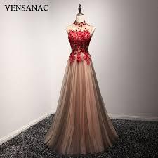 <b>VENSANAC</b> 2018 <b>High Neck</b> Luxury Crystal A Line Long Evening ...