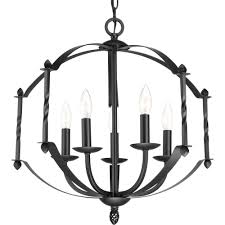 progress lighting greyson collection 5 light black chandelier
