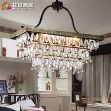 get ations rectangular crystal chandeliers american restaurant retro rustic wrought iron chandelier bedroom lamp aisle nordic personality living