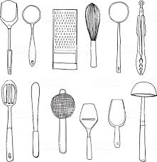 Image Art Print Istock Vector Kitchen Utensils Hand Drawn Cute Line Art Illustration Vecteurs Libres De Droits Et Plus Dimages Vectorielles De Acier