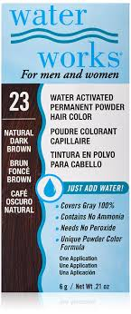 Waterworks Permanent Powder Hair Color 23 Natural Dark Brown Water Works Black 20 21 Oz Water Works Powder Hair Color Is Specially Formulated To