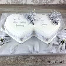 Silver Anniversary Cake Hearts Silver Anniversary Cake Hearts Silver