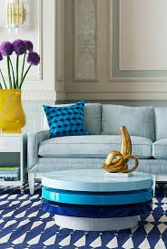 view in gallery swiveling blue coffee table from jonathan adler
