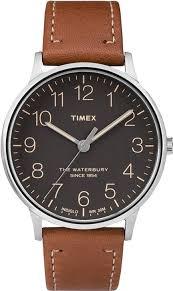 men s timex the waterbury classic leather watch tw2p95800 loading zoom