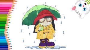 Sketsa mewaranai suasana musim dingin; Hujan Dan Payung Cara Menggambar Dan Mewarnai Tv Anak Youtube