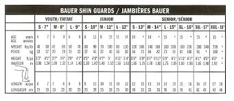 Hockey Shin Pad Sizing Chart Bauer Nexus 400 Shin Guard Jr