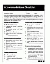 Special Education Accommodations Chart Accommodations Checklist Teachervision