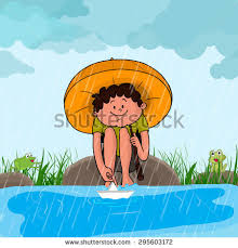 rainy season stock images royalty images vectors cute little boy umbrella sitting at the river side and playing paper boat