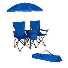 trademark innovations blue double folding camp and beach chair with removable umbrella and cooler