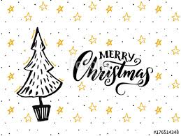 Merry Christmas Card Design With Hand Drawn Tree And Calligraphy