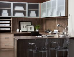 Wood office desk plans astonishing laundry room Shaped Light Brown Wood Grain Office With Shelves Drawers Wrap Around Desk And Cabinets With Frosted Glass Hgtvcom Home Office Storage Furniture Solutions Ideas By California Closets