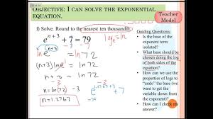 solve exponential equations base e
