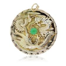14k yellow gold large chinese dragon jade pendant