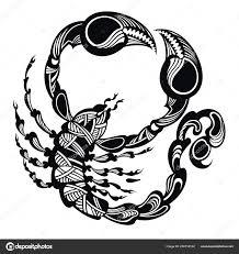 černá Bílá Scorpion Tetování Zvířata Vektorové Ilustrace Koncept
