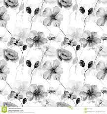 Zwart Wit Naadloos Behang Met Wilde Bloemen Stock Illustratie