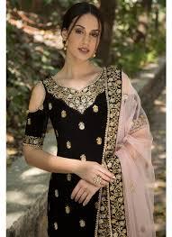 Pink Velvet Suit Design Black Velvet Cold Shoulder Churidar Suit Indian Designer