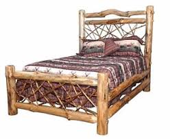 Rustic Pine Log – QUEEN SIZE – Twig Style Complete Bed Frame – Amish ...