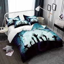 zombie bedding set cartoon ghost hand print duvet cover set dark blue moon night bedclothes pillowcase bed cover d40 black and white bedspread