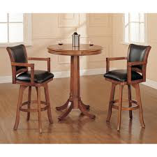 park view medium brown oak 42 inch bistro table and two bar stools