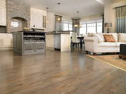 living room with a red oak hardwood floor in charcoal stain
