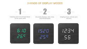 wooden digital alarm clock led light timer snooze calendar temperature sound control