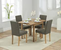 promo solid oak extending dining table 4 maiya brown fabric chairs me home furnishings