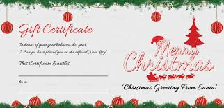 Gift Cards For Christmas Printable Merry Christmas Gift Certificate
