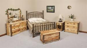 amish rustic cabin hickory wood wagon wheel bedroom furniture set amish wood furniture home