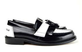 modshoes two tone black and white leather tassel