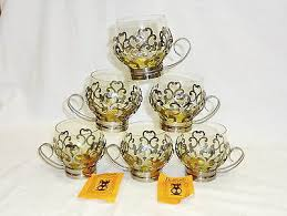 set 6 vtg soviet russian tea glass holder podstakannik samovar