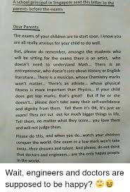 Letter To School Principle A School Principal In Singapore Sent This Letter To The Parents